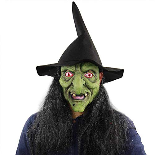 Latex Witch Mask with Hair and Hat for Halloween Party Costume Decorations Old Witch Dress up(Green)]()