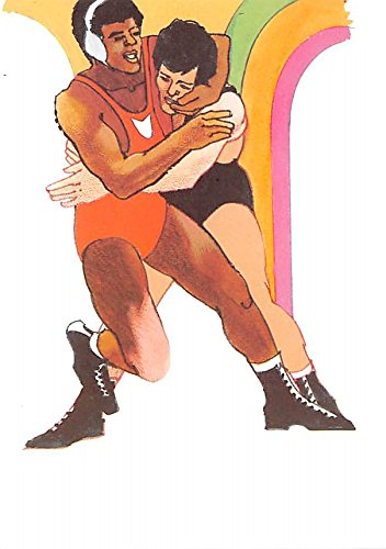 Original Artwork By Robert Peak  1984 Summer Olympics Olympic 28 Cent Wrestling Stamp Old Vintage Track   Field Postcard Post Card