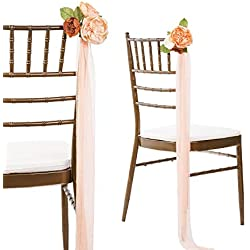 Ling's moment Wedding Chair Floral Pull Bows with Tulle Tail, Set of 8, DIY Wedding Aisle Decorations Flowers, Ceremony Chair Decorations for Fall Boho Wedding Venue Ceremony Events
