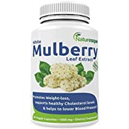 #1 White Mulberry Leaf Extract | 1000mg | Controls Appetite & Reduces Sugar Cravings | Low Blood Sugar | Good for Zuccarin Diet Weight Loss | 60 Vegan Caps By Naturesque