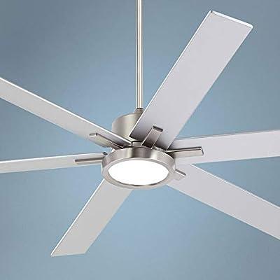 "70"" Nucleus Possini Brush Nickel LED Ceiling Fan"