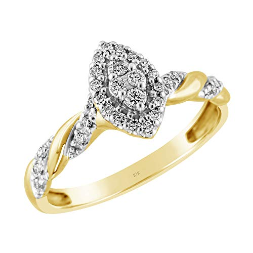 Brilliant Expressions 10K Yellow Gold 1/5 Cttw Conflict Free Diamond Marquise Halo and Serpentine Twist Engagement Ring (I-J Color, I2-I3 Clarity), Size 7