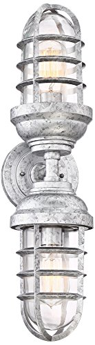 Marlowe 22 1/2″ High Galvanized Two-Light Outdoor Wall Light For Sale