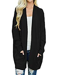 Womens Plus Size Open Front Knit Long Cardigan Sweater With Pockets