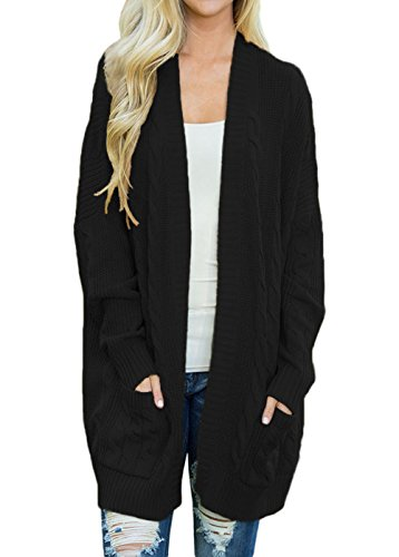 Shawhuwa Womens Plus Size Open Front Knit Long Cardigan Sweater with Pockets M Black