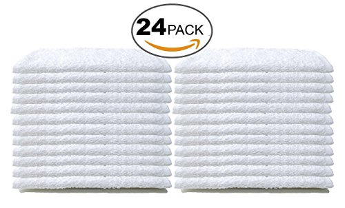 Bare Cotton #1 White Wash Cloths, 100% Natural Cotton, 12 x 12, Commercial Grade, 24-Pack