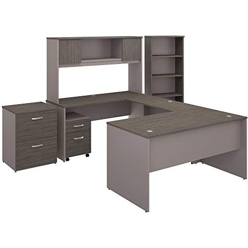 - Bush Furniture Commerce 60W U Shaped Desk with Hutch, File Cabinets and Bookcase in Cocoa and Pewter
