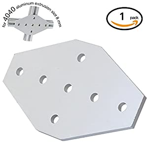 Boeray 7 Hole Cross Joining Bracket Plate for Aluminum Extrusion Profile 4040 Series, 7 Hole Joint Plate from Boeray