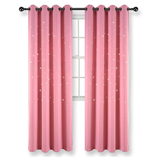 Kotile Girls Room Star Curtains - Hollow Stars Room Darkening Grommet Curtain Panels, Baby Pink, W52 x L84 Inches, 2 Curtain Panels