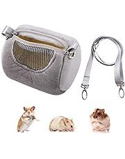 Dwarf Hamster Carrier Bag Portable Cylinder Warm Outdoor Bag with Adjustable Single Shoulder Strap (Grey)