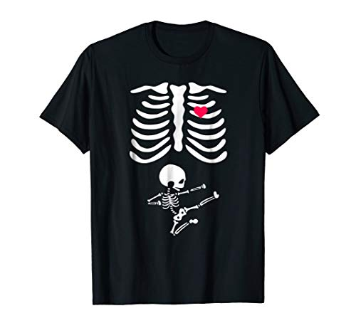 Funny Halloween Costume Pregnant Skeleton Karate Shirts Gift ()