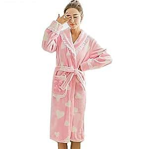 Tina Kimono Vestido Nuevo de Dibujos Animados Lindo de Franela Traje de Invierno Mujer Manga Larga Engrosamiento de túnica Batas Batas de baño Batas ...