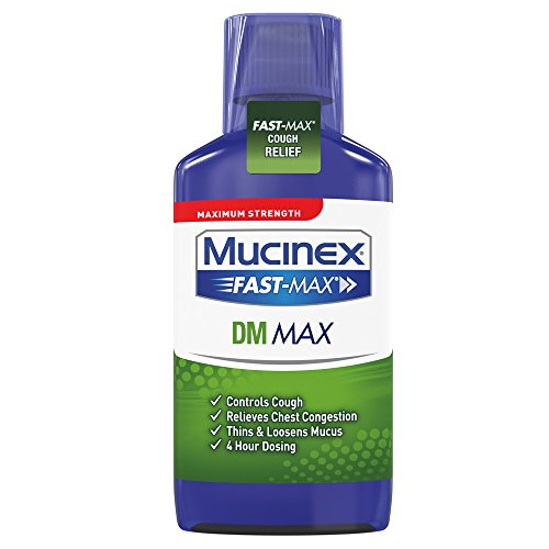 - Mucinex Fast-Max DM Cough Relief Maximum Strength Liquid- Expectorant and Cough Suppressant for Chest Congestion Relief, 4 Hour Relief, With Guaifenesin & Dextromethorphan, 6 oz