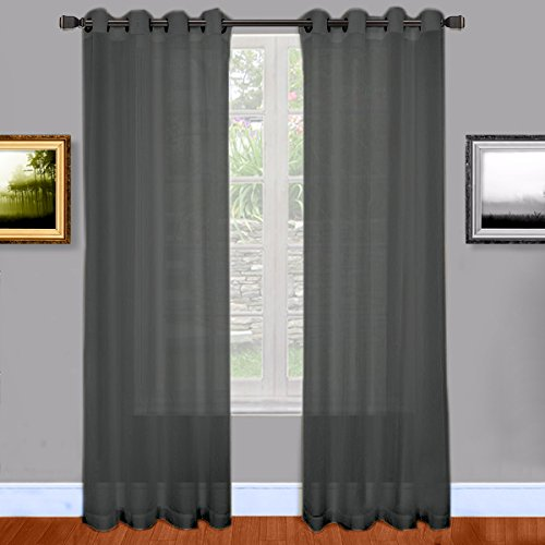 Warm Home Designs Charcoal Sheer Curtains. 2 Grommet Curtain Panels are 54 by 84 Inch Each – Charcoal Grey, 84