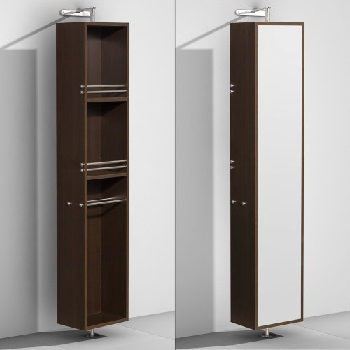 Wyndham Collection Amare Linen Tower & 360 Degree Rotating Floor Cabinet with Full-Length Mirror in (Collection Linen Cabinet)
