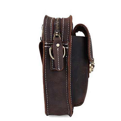 Strap Pouch Brown For Dark Cell Sport Pack Leather shoulder Modelshow Climbing Case Genuine Military Small Fanny shoulder Strap Mini Hiking black Phone HwTwq84Sn