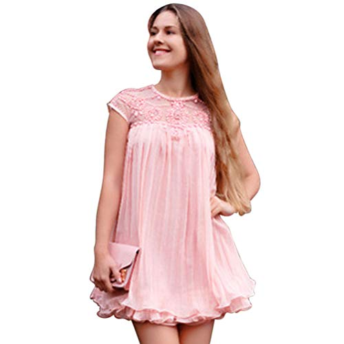 Women Party Dress Chiffon Pleated Swing Dress Sexy Elegant Embroidery Lace Cap Sleeve Dress for Birthday Wedding Pink L