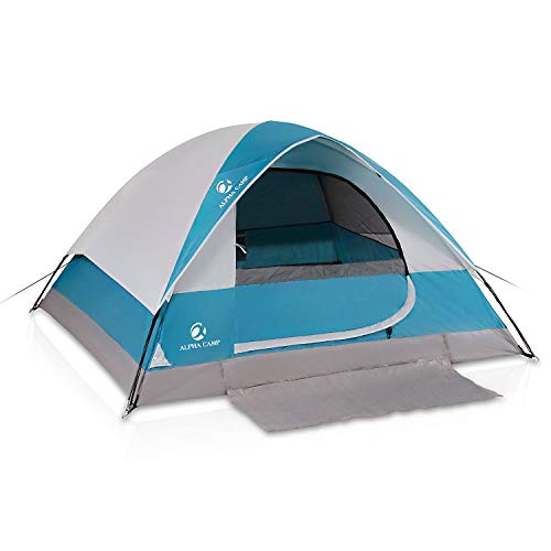 ALPHA CAMP 4 Person Dome Tent for Camping Easy Setup Tent with Foot Mat - 9' x 7' Blue ()