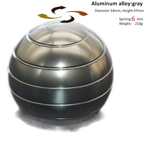 ELAUN 210g 54mmX47mm Aluminum Alloy Kinetic Desk Toy Stress Relief Office Executive Gadgets Metal Ball with Optical Illusion for Adults and Kids Anti Anxiety ADHD Relieve Stress (Gray, 54mmX47mm)