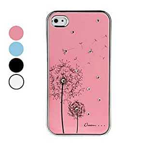 DUR Dandelion Pattern Rhinestones Aluminium Case for iPhone 4 and 4S (Assorted Colors) , White