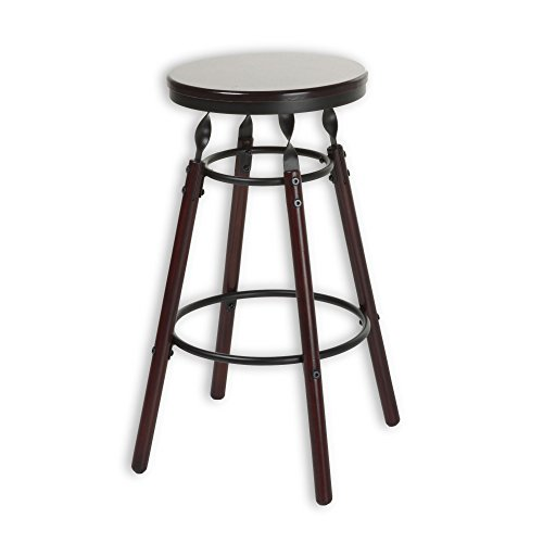Fashion Bed Group Boston Backless Seat Bar Stool with Dark Cherry Finished Wood Frame, Footrest and Twisted Charcoal Metal Posts, 30-Inch Seat Height