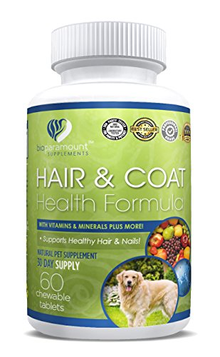 Bio Paramount Hair Skin Nails Dietary Pet Supplement For Dogs and Cats With Vitamins A B C D and E - 60 Chewable Tablets