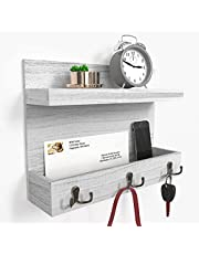 Ballucci Wall Mount Entryway Organizer for Mail, Phones, Keys with Floating Storage Shelf and 3 Metal Key Hooks, 15x11 inches