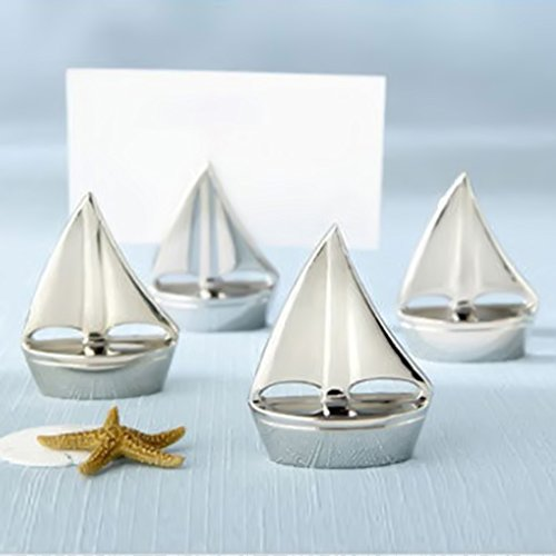 1 pcs Sail Boat Silver Place Card Holders Beach Theme Wedding Favors Party (Themed Place Card Holder Favors)