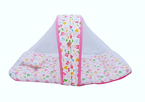 BEBO and Baby Toddler Bedding Set with Mosquito Net for Child 0-6 Months, (Printed-Pink) CP-6