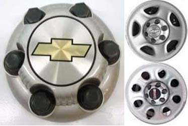 Painted Center (16 17 Inch OEM Chevy 6 Lug Silver Painted Center Cap Hubcap Wheel Cover, 1999-2013 # 15006331 15067579 5128 8069 C5128S Silverado Avalanche Express Suburban Tahoe Astro 1500 Truck Van)