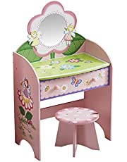 YFDZONE Kids Vanity Makeup Table and Chair Set Wooden Makeup Dressing Table with Drawer Vanity Set with Mirror and Stool for Girl