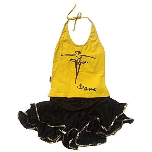 Kids Girls Cotton Elastic Dance Camisole Cute Latin Tops and Skirts 2 pieces Set Yellow L