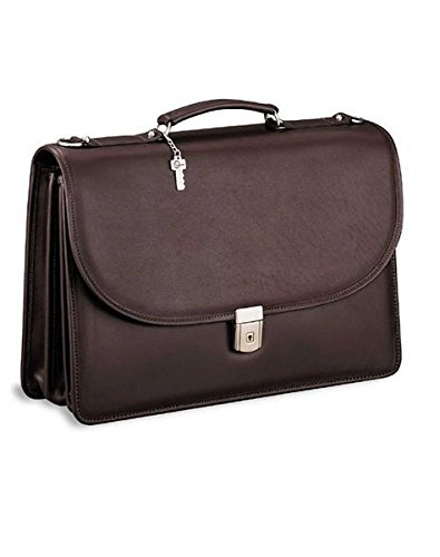 (Jack Georges [Personalized Initials Embossing] Platinum Triple Gusset Flap Over Leather Briefcase in Brown )