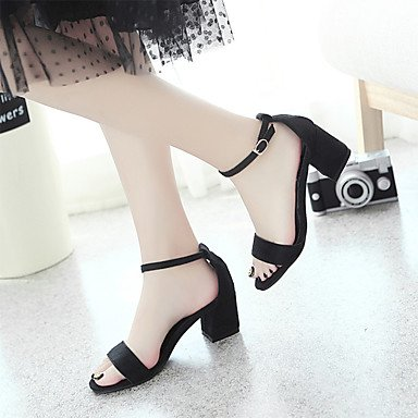LFNLYX Las mujeres sandalias de verano Casual PU Slingback Chunky talón negro Hebilla caminando Black