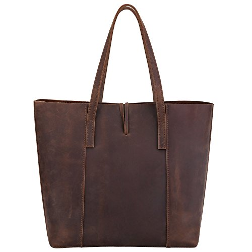 Roohkasu Women's Vintage Style Leather Work Tote Shoulder Bag (UPGRADED 2.0) by Roohkasu (Image #1)