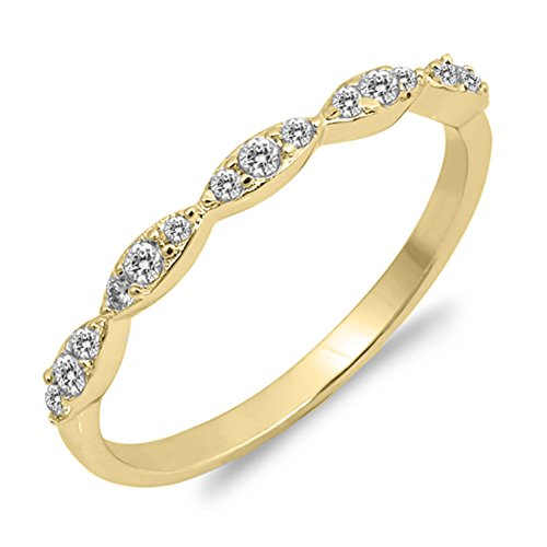 Gold-Tone White CZ Wedding Ring Accent New .925 Sterling Silver Band Size - Gold Accent Ring Tone