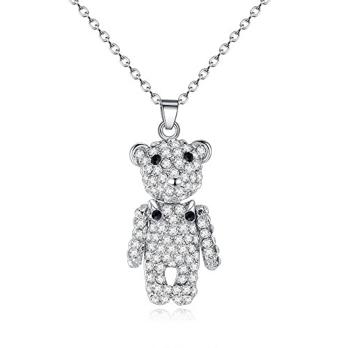 (ATDMEI Teddy Bear Pendant Necklace Sterling Silver Plated for Women Girls Zircon Jewelry Gifts)