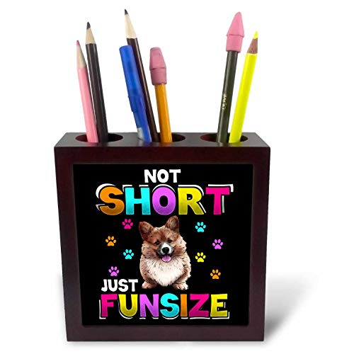 - 3dRose Sven Herkenrath Dog - Not Short Just Funsize Welsh Corgi Dog - 5 inch Tile Pen Holder (ph_316124_1)