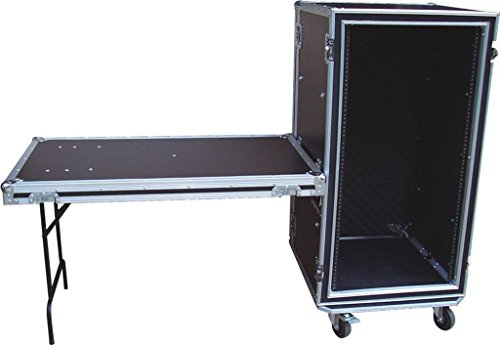 Audio Dynamics SP-18 18U Space ATA Shock Proof AMP Rack Flight Case for 19'' Rack with Foldout Table & Heavy-Duty Wheel Casters by Audio Dynamics