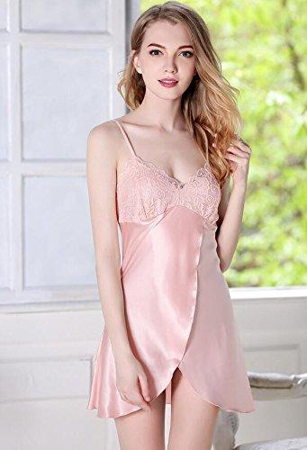 Wanyne -dressing Robes Avec Les Femmes Robe De Dentelle Sangle Robes De Chambre Pyjama Chemise De Nuit Peignoir Robe Bracelet (couleur: Blanc, Taille: Xl) Rose