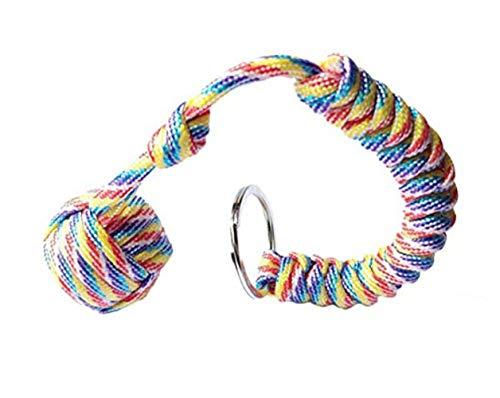 TREESTAR Round Umbrella Keychain Pendant Key Chain for Women and Men Keychain 24×3.5cm 1pcs (Rainbow) (Monkey Fist Knot Keychain)