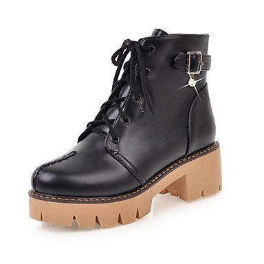 RTRY Women's Shoes Leatherette Fall Winter Fashion Boots Bootie Combat Boots Boots Chunky Heel Platform Round Toe Booties/Ankle Boots US6.5-7 / EU37 / UK4.5-5 / CN37 j4mSk
