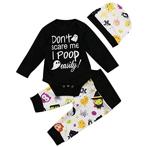 Treafor Baby Girl Halloween Costumes Long Sleeve Romper Letter Print Bodysuit Black Onesie Witch Baby Clothes (0-6 M, Black)