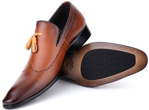 Mens Oxford Shoes Formal Leather Mens Dress Shoes - Men Wedding Shoes in A Bag - Umber