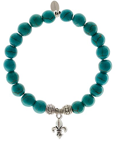 EvaDane Natural Turquoise Gemstone Rope Bead Fleur de Lis Charm Stretch Bracelet - Size 9 Inch ( 1_TUR_S_R_FLE_9)