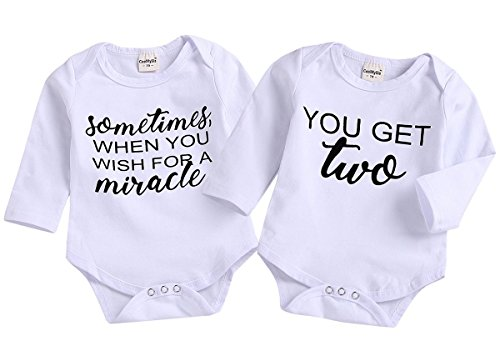 Mini honey 2Pcs Infant Twins Baby Boys Girls Long Sleeve Letter Print Romper Bodysuit Summer Outfit Clothes (0-6 Months, White1) (Ultrasound Print)