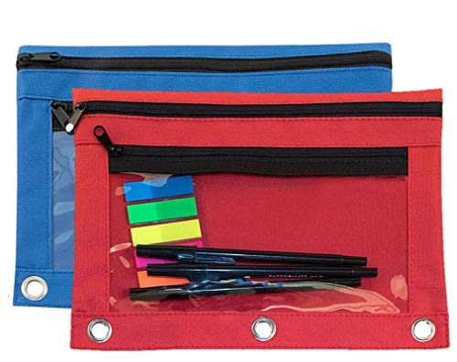 (1InTheOffice Pencil Pouch 3 Ring, Red & Blue,
