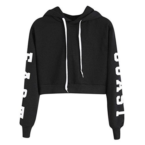 FEITONG Womens Letters Long Sleeve Hoodie Sweatshirt Pullover Tops East Coast(M,Black)