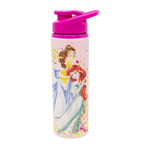 Disney Princess Bottle - Silver Buffalo DP110391 Disney Princess Trio Confetti Flowers Stainless Water Bottle, 25-oz