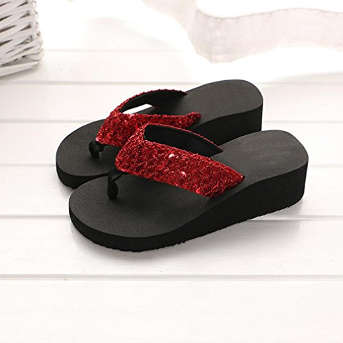 Shoes Red Heels Soft Open Coromose Summer Casual Women's US Flip 5 Wedge Sale 5 7 Hot Sandals High Toe 5 Bohemian Design Flops Bqw0Z5